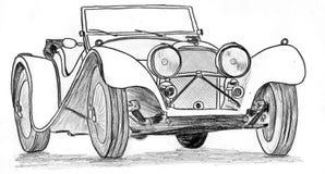 Vintage prewar sportscar. Racecar, hand drawn Royalty Free Stock Photos