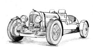 Vintage prewar sportscar. Racecar, hand drawn Stock Photography