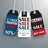 3 Vintage Price Sticker Black Friday Cyber Monday Royalty Free Stock Photo