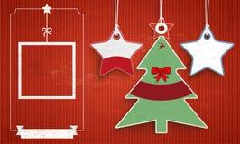 Vintage Price Stickers Christmas Tree 2 Stars. Vintage background with price stickers for christmas sale Stock Photo