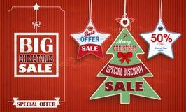 Vintage Price Stickers Christmas Tree 2 Stars. Vintage background with price stickers for christmas sale Royalty Free Stock Image