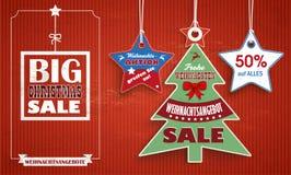 Vintage Price Stickers Weihnachten Weihnachtsbaum Sterne. German text Weihnachtsaktion, greifen Sie zu, Frohe Weihnachten, translate Christmas offer, buy now Stock Photography