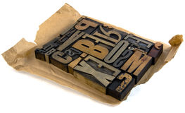 Vintage print letters unwrapped Stock Image