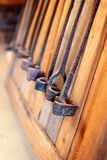 Vintage Printing Irons On A Wall stock images