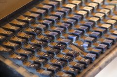 Vintage Printing Press Keyboard Covered in Dust and Grit Royalty Free Stock Images