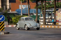 Vintage Private Car, Volkswagen beetle. Chiangmai, Thailand - February 16 2019: Vintage Private Car, Volkswagen beetle. Photo at Chiangmai Bus Station stock photography