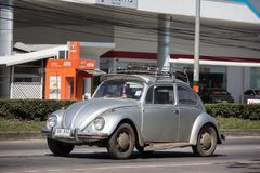 Vintage Private Car, Volkswagen beetle. Chiangmai, Thailand - January 16 2019: Vintage Private Car, Volkswagen beetle. Photo at road no.1001 about 8 km from royalty free stock photos