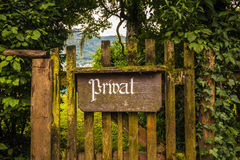 Vintage private sign on an old wooden gate Royalty Free Stock Photo