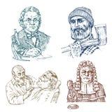 Vintage Professions. Judge man or magistrate, scientist professor with glasses. Hairdresser in barber shop. Woodcutter vector illustration