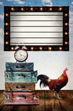 Vintage program board with retro bag and chicken Stock Images