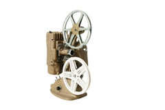 Vintage Projector and Film reels. Isolated on white Royalty Free Stock Photography
