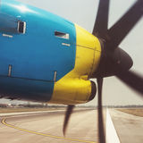 VIntage propeller airplane nose and engines Royalty Free Stock Image