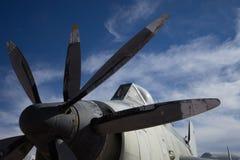 Vintage propeller powered war aircraft stock photo