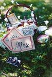 Vintage, Provence, basket flowers wine wedding Stock Image