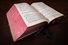 Vintage psalm book with chorus singing notes Royalty Free Stock Photos