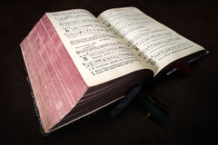 Vintage psalm book with chorus singing notes Stock Image