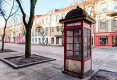 Vintage public telephone booth. Old Town district. Kaunas, Lithuania Royalty Free Stock Images