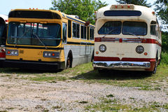 Vintage Public Transportation Vehicles - Buses. Royalty Free Stock Image
