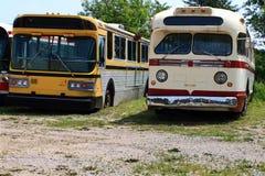Vintage Public Transportation Vehicles - Buses. Old (vintage) models buses for public transportation Royalty Free Stock Image