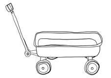 Vintage Pull Wagon lineart illustration Stock Photo