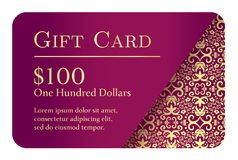 Vintage purple gift card with golden lace ornament Stock Photos
