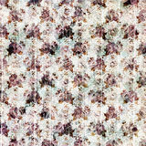 Vintage purple grungy flowers and wood grain background design Stock Image