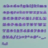 Vintage purple painted alphabet. Including lower, upper and specal case Stock Image
