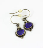 Vintage Purple Stone Earrings Stock Image