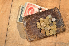 Vintage purse with money USSR. early 20th century Royalty Free Stock Photos