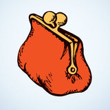 Vintage purse. Vector drawing Royalty Free Stock Photography