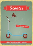 Vintage push scooter poster design. Stock Photo