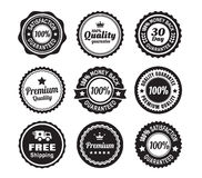 Vintage Quality Guarantee Badges. 9 Vintage Premium high quality money back guarantee badges vector illustration