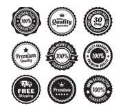 Vintage Quality Guarantee Badges. 9 Vintage Premium high quality money back guarantee badges Stock Photo