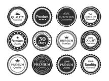 Vintage Quality Guarantee Badges. 12 Vintage Premium high quality money back guarantee badges royalty free illustration