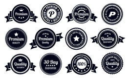 Vintage Quality Guarantee Badges. 12 Vintage Premium high quality money back guarantee badges Royalty Free Stock Photo