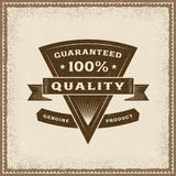 Vintage 100% Quality Label. In woodcut style. Editable EPS10 vector illustration with transparency Stock Photo