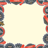 Vintage Quality Labels and Badges in Retro Style Frame Stock Photo