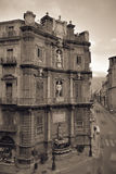 Vintage Quattro Canti in Palermo, Sicily Royalty Free Stock Photography