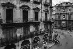 Vintage Quattro Canti in Palermo, Sicily Stock Image