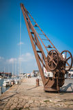 Vintage quayside crane of Noirmoutier Stock Photos