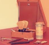 Vintage que afeita los accesorios Primer Añada el efecto retro imágenes de archivo libres de regalías