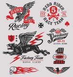 Vintage que compite con gráficos de las insignias stock de ilustración