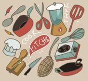 Vintage que cozinha o grupo Imagem de Stock