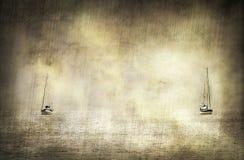 Vintage que olha a imagem com os dois barcos de navigação no mar das caraíbas Fotografia de Stock Royalty Free