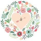 Vintage que se casa a Flora Heart Shape Foto de archivo libre de regalías