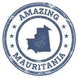Vintage que sorprende el sello del viaje de Mauritania con el mapa Foto de archivo libre de regalías