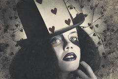 Vintage queen of hearts wearing poker card Stock Photo
