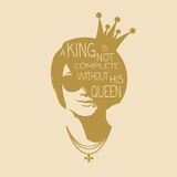 Vintage queen silhouette. Motivation quote Royalty Free Stock Photography