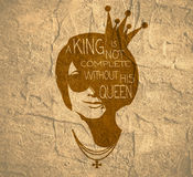 Vintage queen silhouette. Motivation quote Stock Images