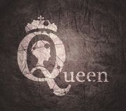 Vintage queen silhouette. Royalty Free Stock Photography
